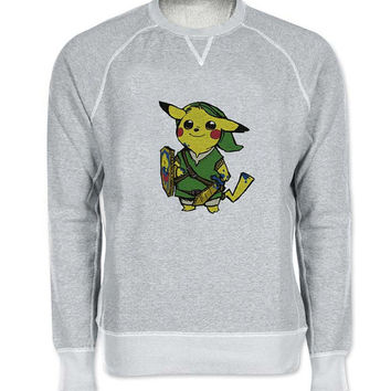 zelda pokemon sweater Gray Sweatshirt Crewneck Men or Women for Unisex Size with variant colour