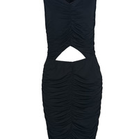 Black V-neck Cut Out Waist Ruched Midi Bodycon Dress