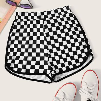 Checker Print Dolphin Shorts