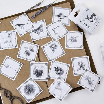 45pcs/box Black white series insects paper sticker decoration DIY diary scrapbook sealing sticker children favorite stationery