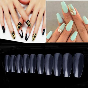 600pcs/bag Ballerina Nail Tips Transparent Long Coffin False Nails Full Cover Professional Nail Art Square Head French Fake Nail
