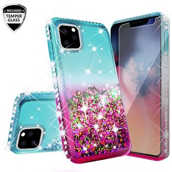 Apple iPhone 11 Case Liquid Glitter Phone Case Waterfall Floating Quicksand Bling Sparkle Cute Protective Girls Women Cover for iPhone 11 W/Temper Glass -  (Pink/Teal Gradient)
