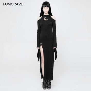 PUNK RAVE 2018 New Women Dress Punk Gothic Moon Pattern Decoration High Fork Self-cultivation Version Diabolic Opened Fork Dress