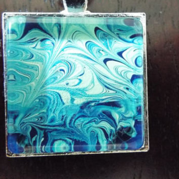 Hand Crafted Breezy Blue Current Square Pendant Necklace   FREE SHIPPING