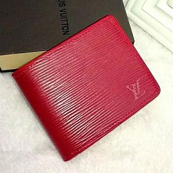 LV Louis Vuitton Trending Ladies Men Pure Color Leather Handbag Purse Wallet Red I