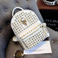 Skull Studded Leather Backpack Daypack Travel Bag