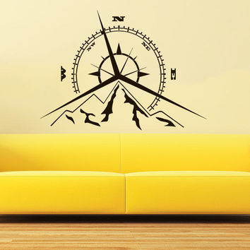 Compass Rose Mountains Wall Decal Vinyl Sticker Nautical Nursery Decor C609