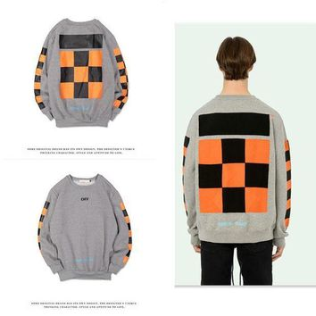 ESBONTJ Hoodies Geometric Round-neck Simple Design Patchwork Plaid Pullover Sponge [103805714444]
