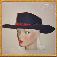 Woman's Black Vintage Wool Rockmount Wind River Cowboy Hat (c 1955) Black and Red Hatband Pyramid Faceted Onyx Silver Pin