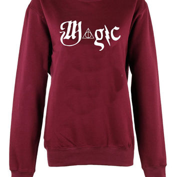 Harry Potter Hogwarts Logo magic triangle crew neck shirt unisex womens mens ladies  print  sweatshirt