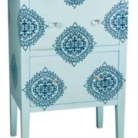 One Kings Lane - Sterling Industries - Palben Damask Cabinet, Blue