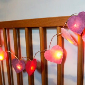 Heart String Lights felt, heart night light felt, nursery light, Christmas light, Christmas decor, heart light garland
