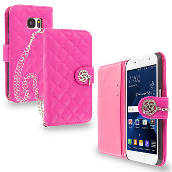 Hot Pink Luxury Wallet Diamond Metal Chain Plaid Case Cover for Samsung Galaxy S7 Edge
