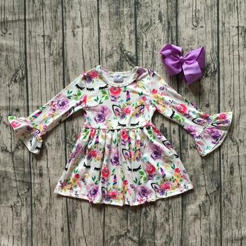 baby girls Fall dress clothing girls unicorn dress children soft mink silk dress girls floral unicorn boutique dress with bows
