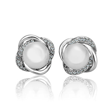 Double Crosee White Gold Plated Pearl Stud Earring