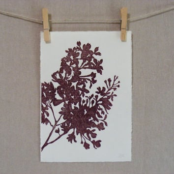 Lilacs  Hand Printed Linocut  PRINT by WoodenSpoonEditions on Etsy