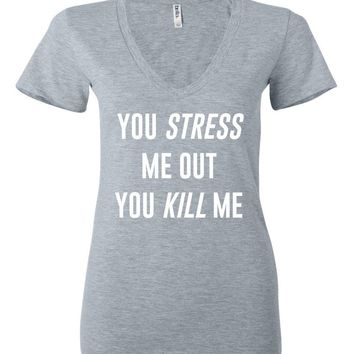 "Louis Tomlinson / Bebe Rexha ""Back to You - You Stress Me Out You Kill Me"" Women's V-Neck T-Shirt"