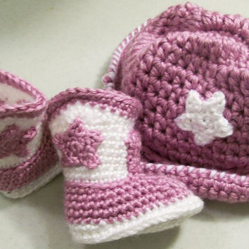 Baby GirlGift Set-Lavender  White Cowboy Hat and Boots-Crochet- --Made in the USA--Baby Shower Gift