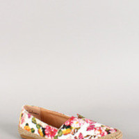 Women's Bamboo Floral Jute Round Toe Loafer Flat