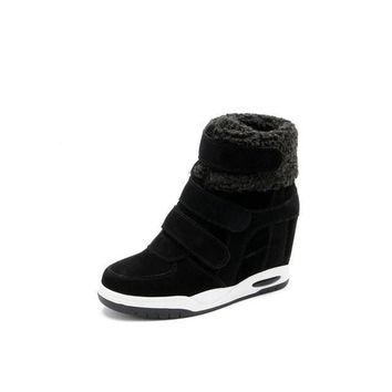 New Winter Shoes Cow Suede Shoes Women Hidden Heel Boots Woman Casual Shoes Wedges bota feminina
