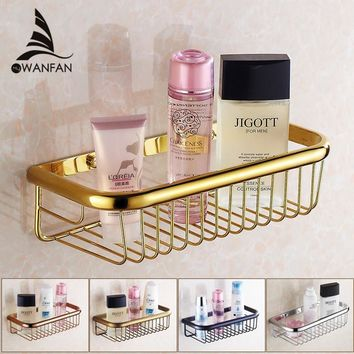 Bathroom Shelves 30cm Single Tier Solid Brass Shower Basket Bath Soap Shampoo Storage Holder Wall Mounted Bathroom Shelf HJ-830