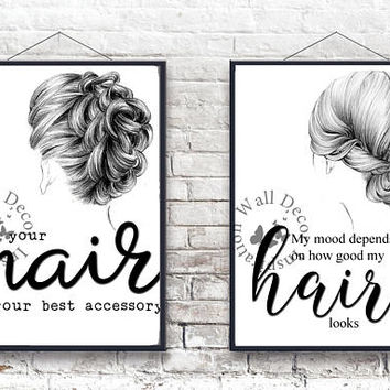 Your hair is your best accessory | Hairdresser Hairstylist | Beauty Salon | Inspiration Poster | Art Print | Printable Quote | Typography