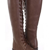Brown Faux Leather Lace Up Tie Front Closed Toe Flat Knee High Boots @ Amiclubwear Boots Catalog:women's winter boots,leather thigh high boots,black platform knee high boots,over the knee boots,Go Go boots,cowgirl boots,gladiator boots,womens dress boots,