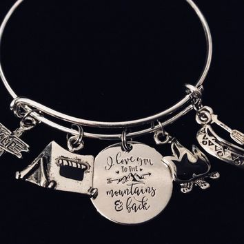 I Love You to the Mountains and Back Adjustable Charm Bracelet Expandable Silver Adjustable Bangle Camper Canoe One Size Fits All Gift
