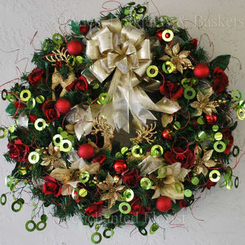 Christmas Wreath - Red, Gold and Green Reindeer Christmas Wreath - Holiday Wreath - Evergreen Wreathh