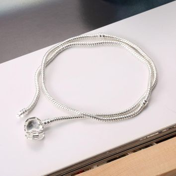 45cm-50cm Silver Plated Necklace Love Heart Clasp Snake Chain Necklace For Women Wedding Gift Bead Charm fit Pandora DIY Jewelry