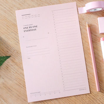 One day one pink 30 days goal planning tracker checklist