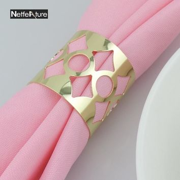 10Pcs Metal Hollow Gold/Silver Napkin Rings Napkin Buckle Serviette Holder For Hotel Wedding Banquet Kitchen Table Decoration