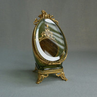 1900 Antque Gilt Brass Bevelled Glass pocket Watch holder display JEWELRY case