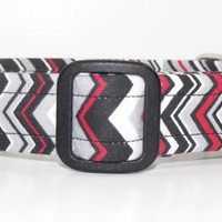Red Blak Grey White Chevron Dog Collar
