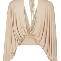 Beige V-neck Batwing Sleeve Backless Cropped Blouse