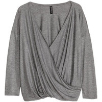 H&M - Draped Top - Gray - Ladies