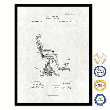 1879 Dentist's Chair Vintage Patent Artwork Black Framed Canvas Print Home Office Decor Great for Dentist Orthodontist