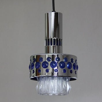Funky French Vintage 1970s Glass Ceiling Light  Chandelier