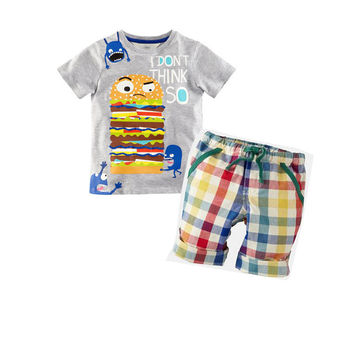 Summer Boys Clothes  New Baby Boy Clothing Set Pattern Burger Bot Toddler Boys Clothing Plaid Kids Clothes
