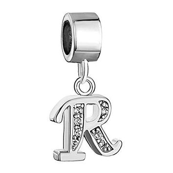 CharmSStory Alphabet Beads AZ Letter Initial Spacer Dangle Clear Synthetic Crystal Silver P Charm For Snake Chain Bracelets