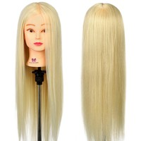 "#613 26"" 30% Real Hair Hairdressing Head Doll Mannequin Training Head Tools Braiding Cutting Student Practice Model with Clamp"