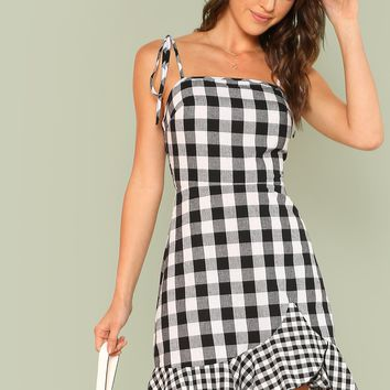 Ruffle Hem Plaid Cami Dress | MakeMeChic.COM