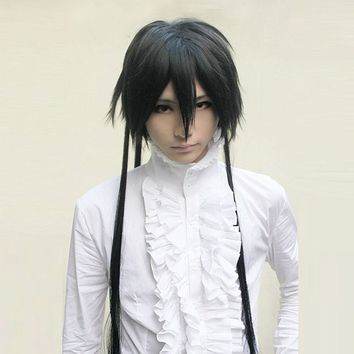 Saint Seiya The Lost Canvas Alone Black 120cm Long hair Cosplay Wig + Wig Cap