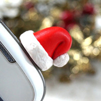 Santa Hat Dust Plug, Polymer Clay Phone Charm, Christmas Decoration
