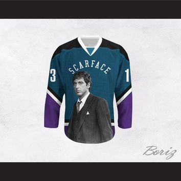 Scarface Tony Montana 13 Teal and Purple Hockey Jersey
