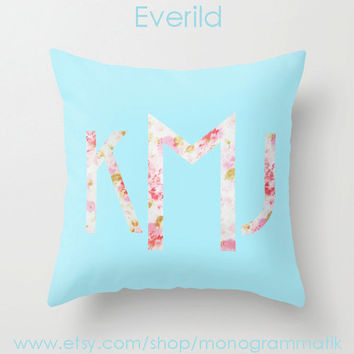 "Monogram Personalized Custom ""Everild"" Pillow Cover 16x16 Initials Unique Gift for Her Him Couch Art Bedroom Room Teal Blue Floral"