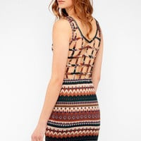 Tribal Print Dress with Back Cutouts in Blue :: tobi