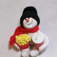 I'll share my fries with you Snowman ornament by Peggers on Etsy