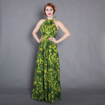 60s HAWAIIAN Halter DRESS / Vintage 1960s Green Tropical Floral Print Maxi xs