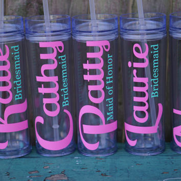 Personalized Bridesmaid Tumbler - 16 oz Skinny Style / Custom Wedding Tumblers / Personalized Tumbler / Bride Tumbler / Bridesmaid Gift
